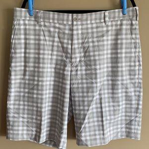 Nike Golf Grey/White Plaid Dri-Fit Shorts Men's 36